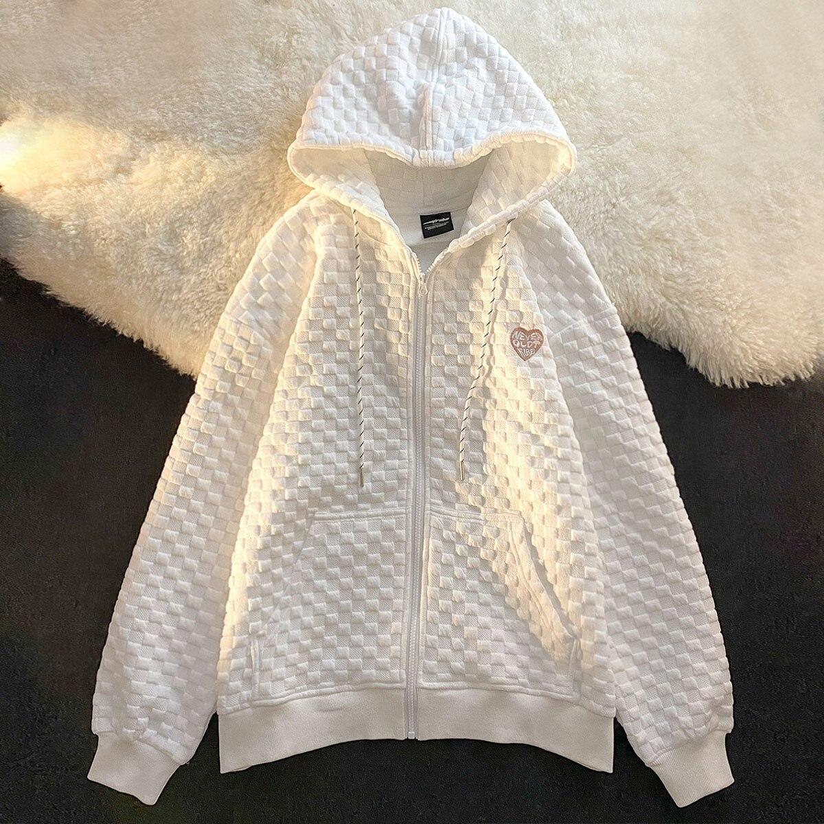 Y2K большие толстовки женские модные толстовки на молнии в Корейском стиле с длинным рукавом для пары 2021 белые осенние наряды Kawaii одежда
