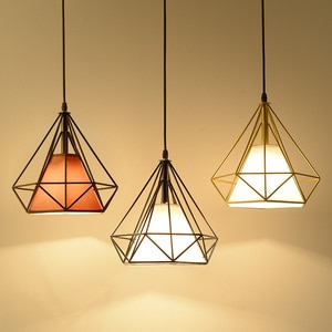 Modern Industrial Vintage Metal Diamond Pendant Light Loft Iron Creative Personality Lamp Bulb Cage Decor Suitable for E27 Bulbs