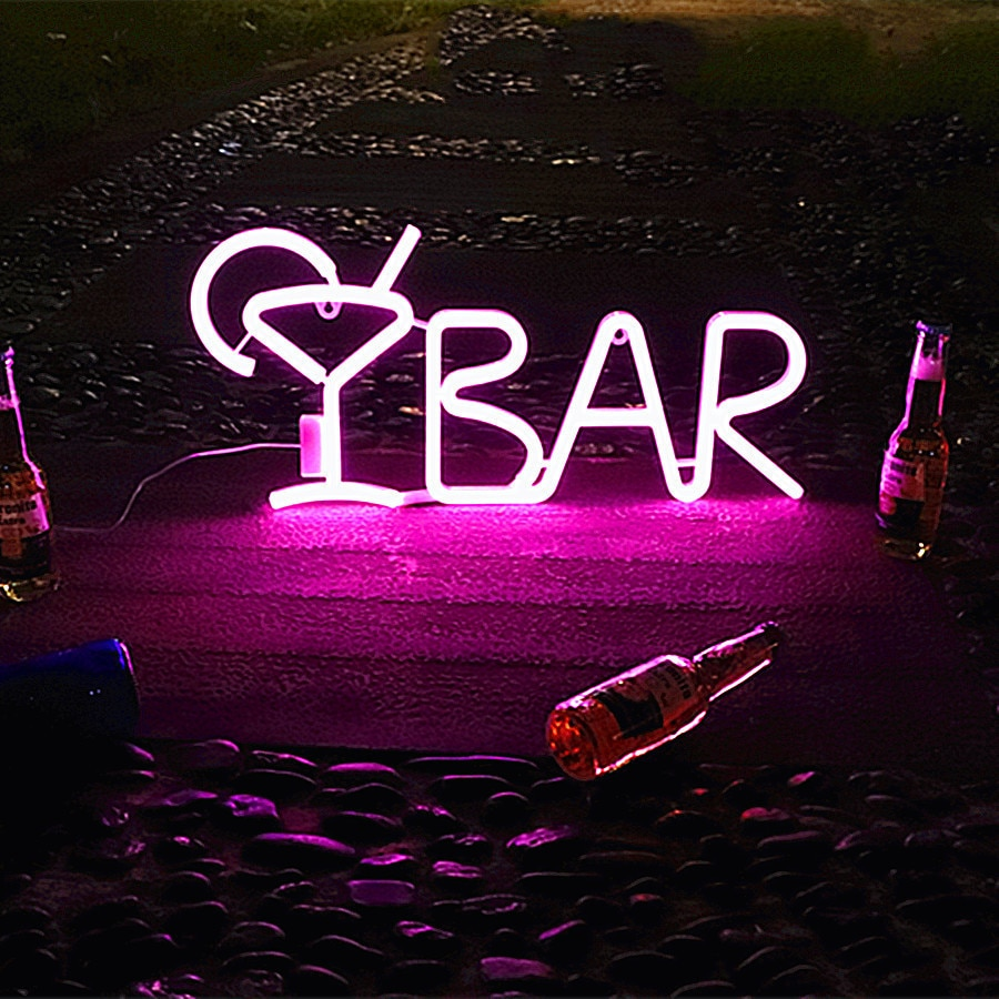 LED BAR Neon Sign Light for Bar KTV Snack Shop Decor Juice Letter Neon Lamp Tube Christmas Wall Decor with Remote Control enlarge