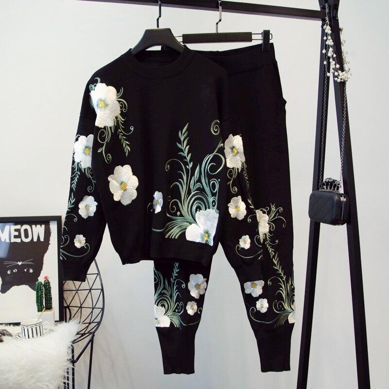 Marca de luxo designer pista 2 peça conjunto para as mulheres causel bordados flores malha superior e malha haroun calças conjunto preto