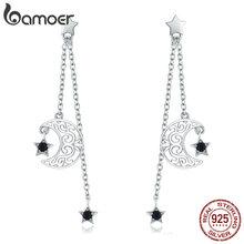 BAMOER Trendy New 925 Sterling Silver Star And Moon Long Chain Drop Earrings for Women Black CZ Sterling Silver Jewelry SCE528