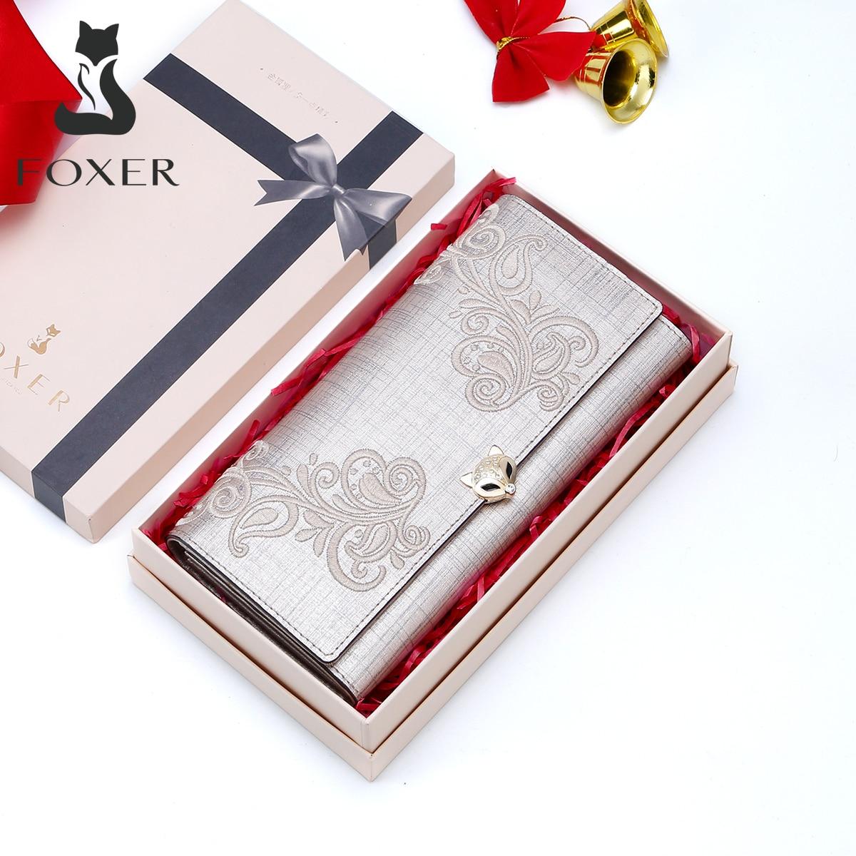 FOXER брендовый женский кожаный кошелек с держателем для карт, клатч, женский модный кошелек, Женский кошелек с вышивкой, Длинные кошельки
