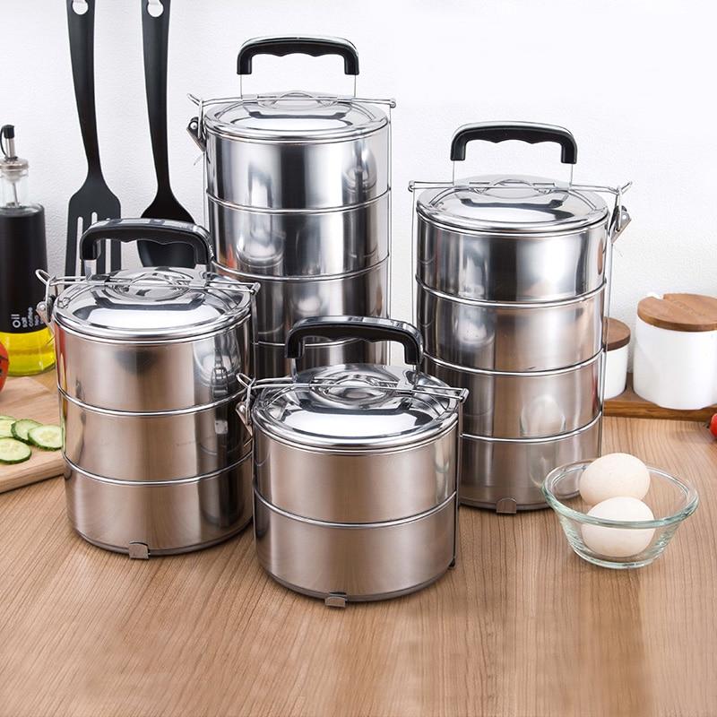 صندوق غداء من الفولاذ المقاوم للصدأ متعدد الطبقات ، سعة كبيرة للبالغين ، التخييم ، بينتو ، العمل ، وجبة محمولة ، أوعية طعام خالية من مادة BPA