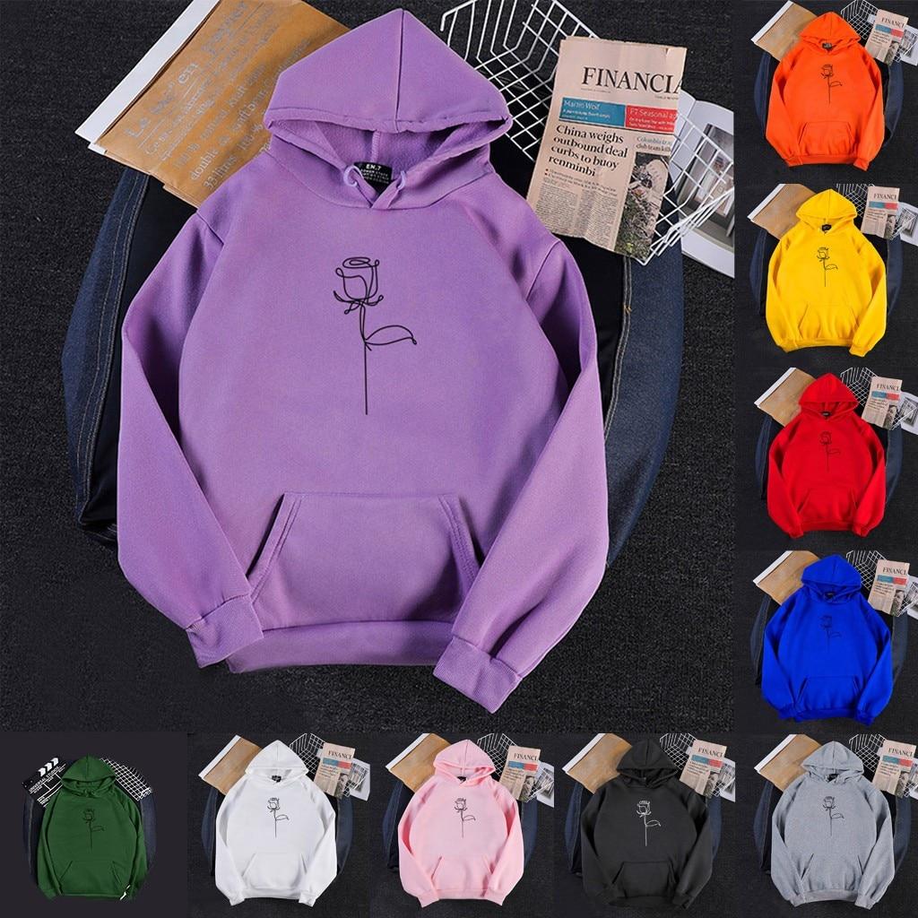 Zoulv 2021 Spring  Womens Hoodies Autumn Long Sleeve Print O-Neck Casual 2020 Kangaroo Pocket Teenager Sweatshirts