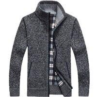 Зимний плотный мужской вязаный свитер, пальто, белый кардиган с длинным рукавом, флисовая мужская повседневная одежда на молнии для осени