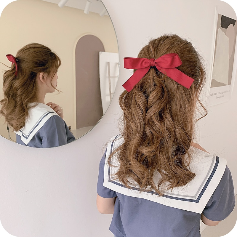 Internet Celebrity Ins Small Bow Barrettes Hair Band Ribbon Headband Korean Clip Headdress Girl Side