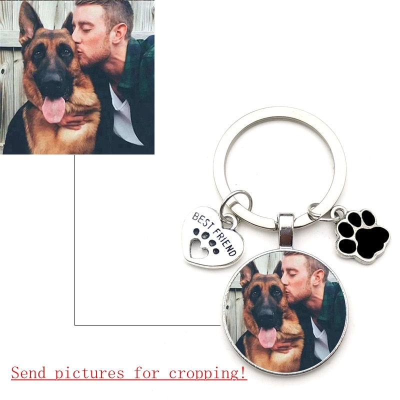 Custom DIY Dog Photo Keychain I Love Dog Glass Crystal Pendant Mini Heart Keychain Car Key Man and G