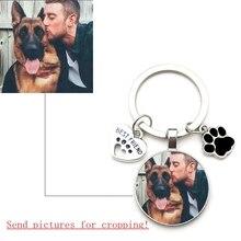 Portachiavi personalizzato per foto di cani fai da te I Love Dog ciondolo in cristallo di vetro Mini cuore portachiavi auto chiave uomo e ragazza regalo preferito Souvenir