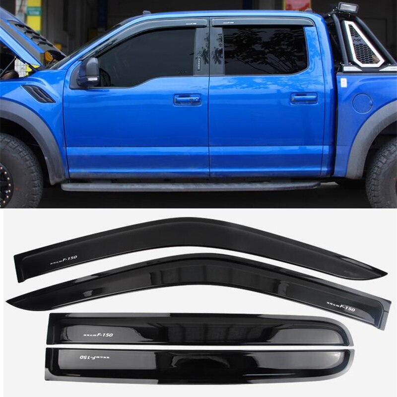 CEYUSOT para Ford raptor de 4 puertas F-150 visor lateral Deflector de viento negro protector para lluvia accesorios F150 alerón lateral 4 Uds 2017-20
