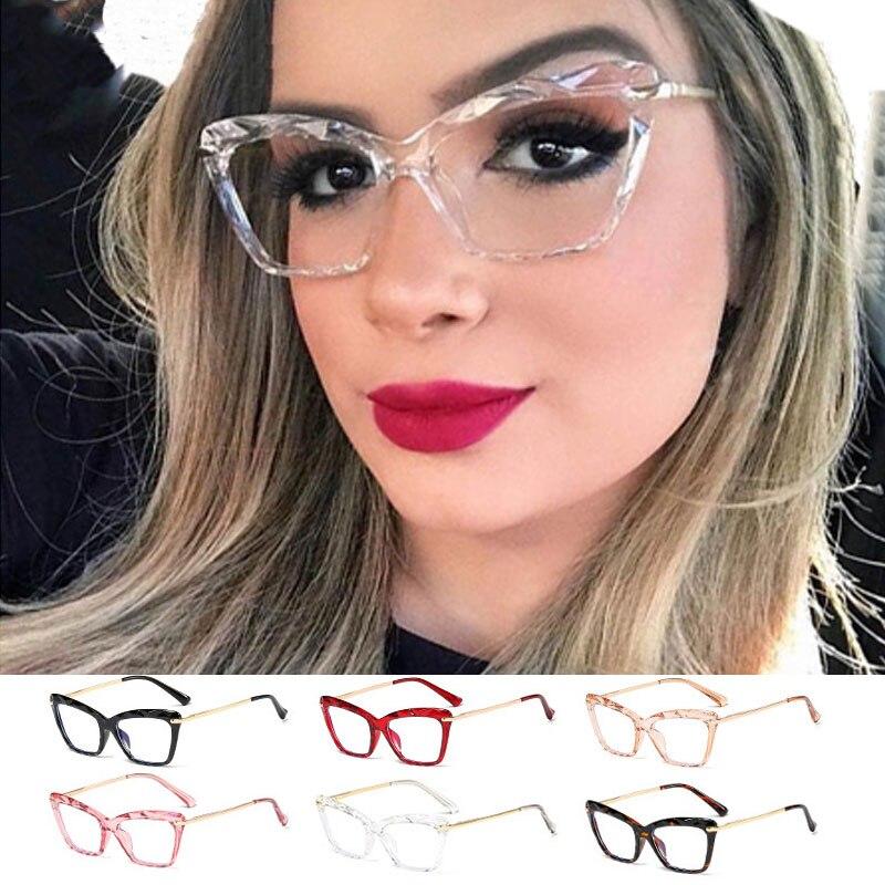 Gafas de ojo de gato de cristal para mujer, gafas con luz Anti-azul con diseño de marca de primavera, gafas con montura metálica