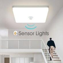 Oświetlenie sufitowe LED PIR czujnik ruchu inteligentne oświetlenie domu AC85-265V 9W 13W 18W 24W 36W lampa sufitowa do korytarza pokoju korytarz