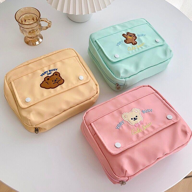 Bentoy Milkjoy Korea Fashion Bear Cosmetic Cases Cute Student Pencil Bag Case Holder Large Capacity  Home Storage Case High