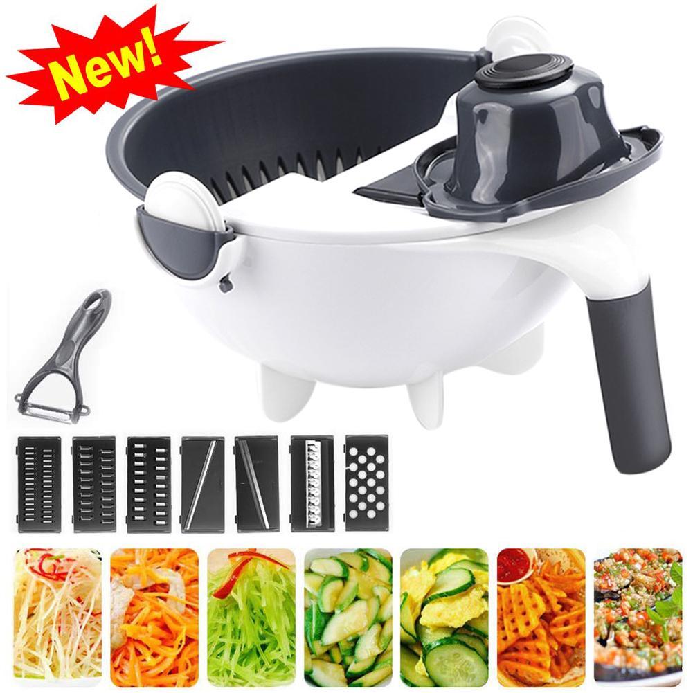 ¡Gran oferta! Vegetal multifuncional patata zanahoria pizca rallador cortador de cuchillas cocina herramienta PP cortador de verduras contenedor de alimentos