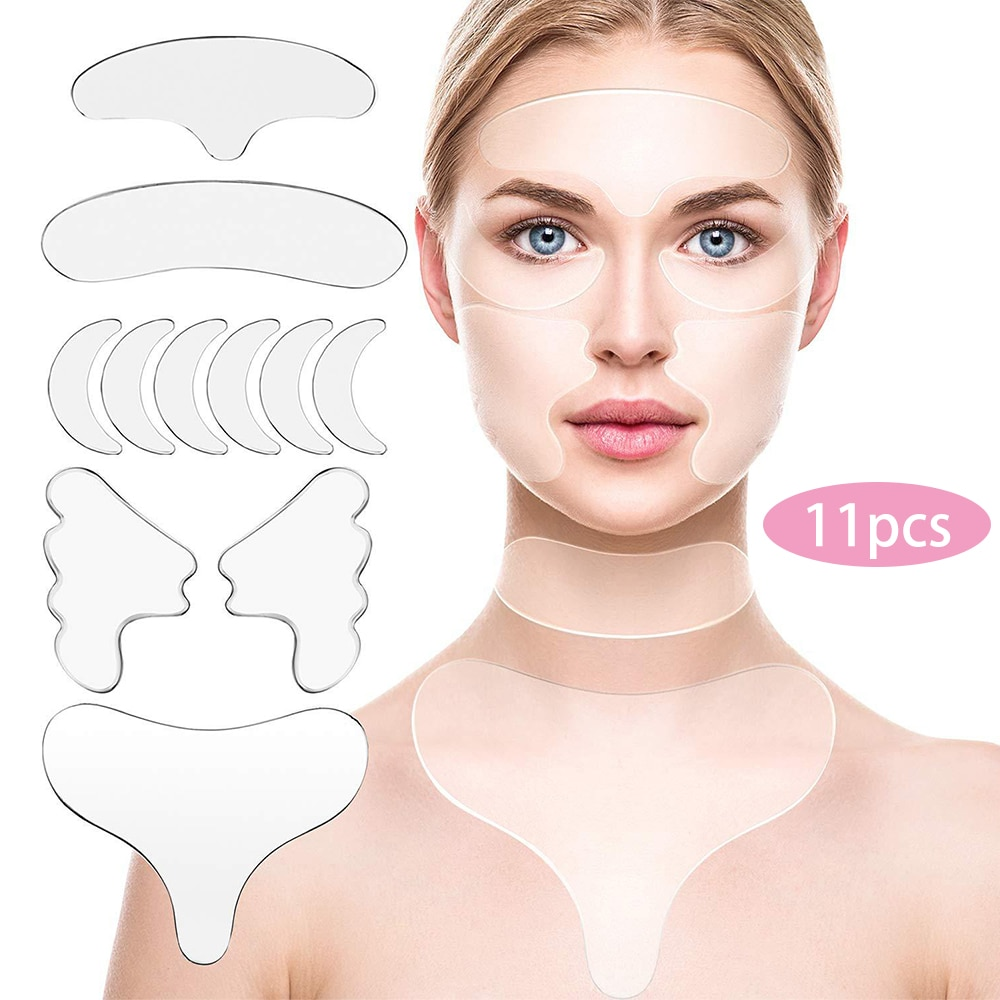 11Pcs Reusable Silicone Wrinkle Removal Sticker Face Forehead Neck Eye Sticker Pad Anti Wrinkle Agin