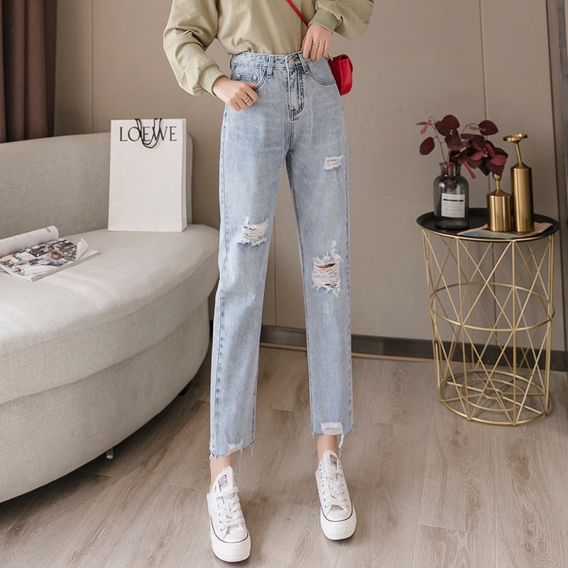 Plus Size High Waist Female Destroyed Hole Denim Jeans Mujer Korean Style Pencil Pants Hipster Ripped Woman Jeans Trousers недорого