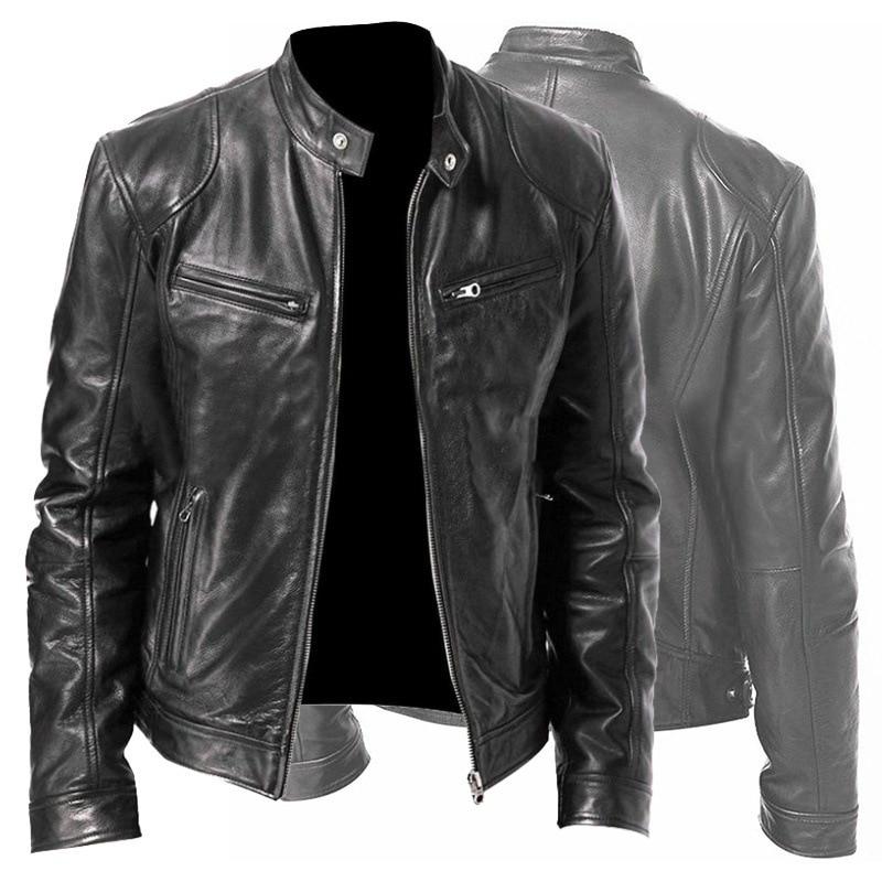 Men PU Leather Coat Jacket Spring Fall Top SlimStreetwear Gothic Moto Biker Punk Outwear Abrigos Mens Coats Mens Jackets 2020