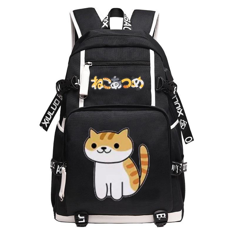 Bolso de animé ulzzang Neko Atsume, mochila escolar para niños, bolsa de viaje multifunción para ordenador de gran capacidad