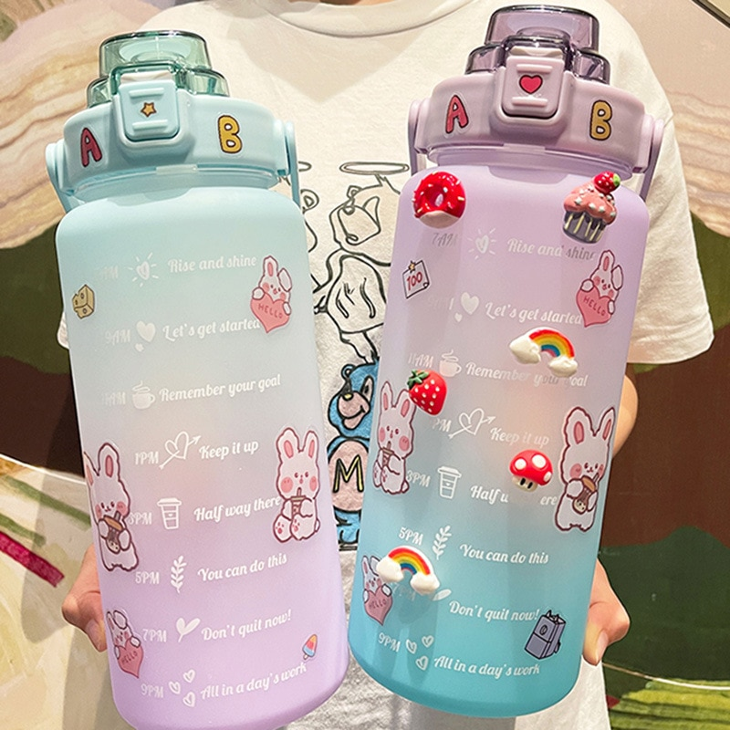 2000ml Stickers Water Bottle with Straw Cute Gradient Color Portable Free Motivational With Time Mar