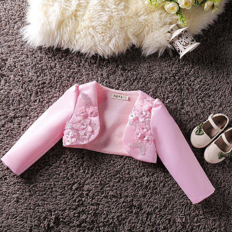 Ropa Para niña bebé, abrigo bordado, capa corta de princesa, chaquetas para niños, prendas de vestir exteriores, vestido de fiesta de boda, chal, ropa para niños