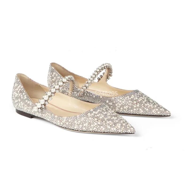 Recién llegado, zapatos planos y mocasines de mujer con perlas color piel, puntiagudos, cinturones en zapatos para mujer, Primavera Verano, zapatos de boda para mujer