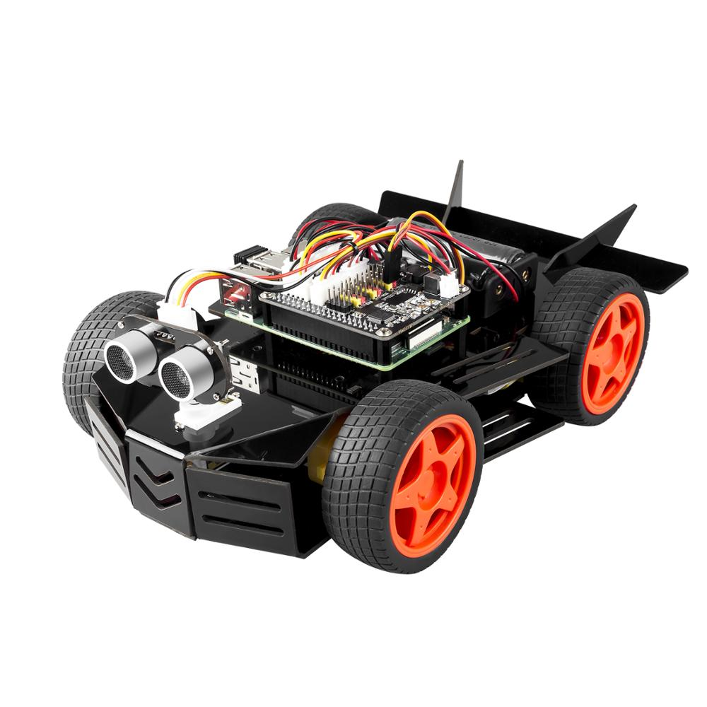 SunFounder DIY Electronic Raspberry Pi Car Robot Kit, 4WD HAT Module, Ultrasonic Sensor, Velocity Measurement Module