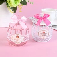 european style wrought iron candy box with bow knot for wedding table decoration candy packing boxes birthday party supplies