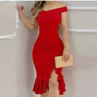 dress woman 2021 summer large size polyester solid color casual asymmetrical shoulder off for women big dresses sexy club