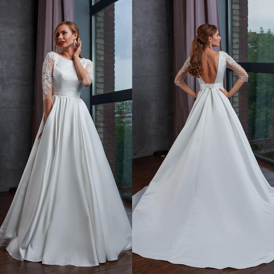 Vestido de novia de media manga con cristales, cuello alto, Espalda descubierta,...