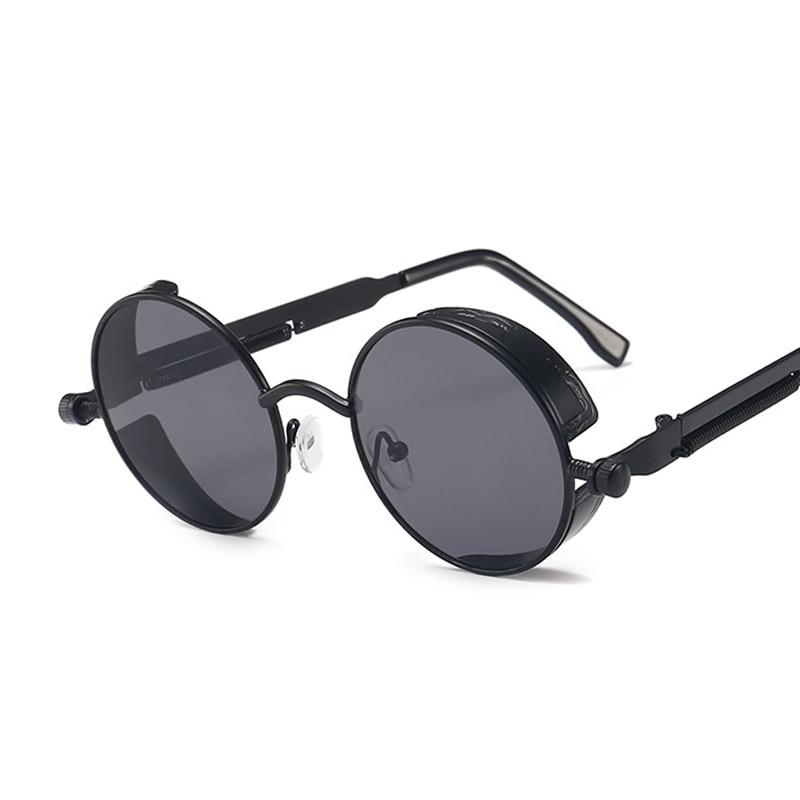 Classic Gothic Steampunk Sunglasses Women Brand Designer Vintage Round Metal Frame Sun Glasses Femal