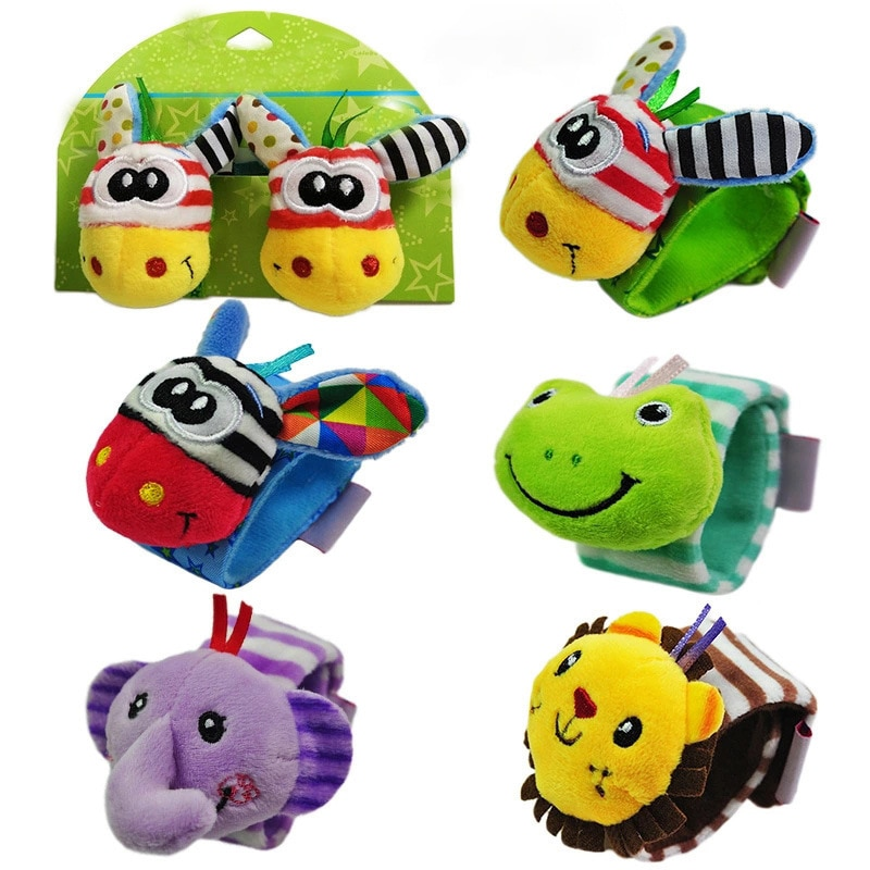 Juguetes para bebés de 0 a 12 meses reloj con forma de Animal sonajero juguete para bebé reloj para madre y bebé sonajero juguetes para niños suministro de educación temprana