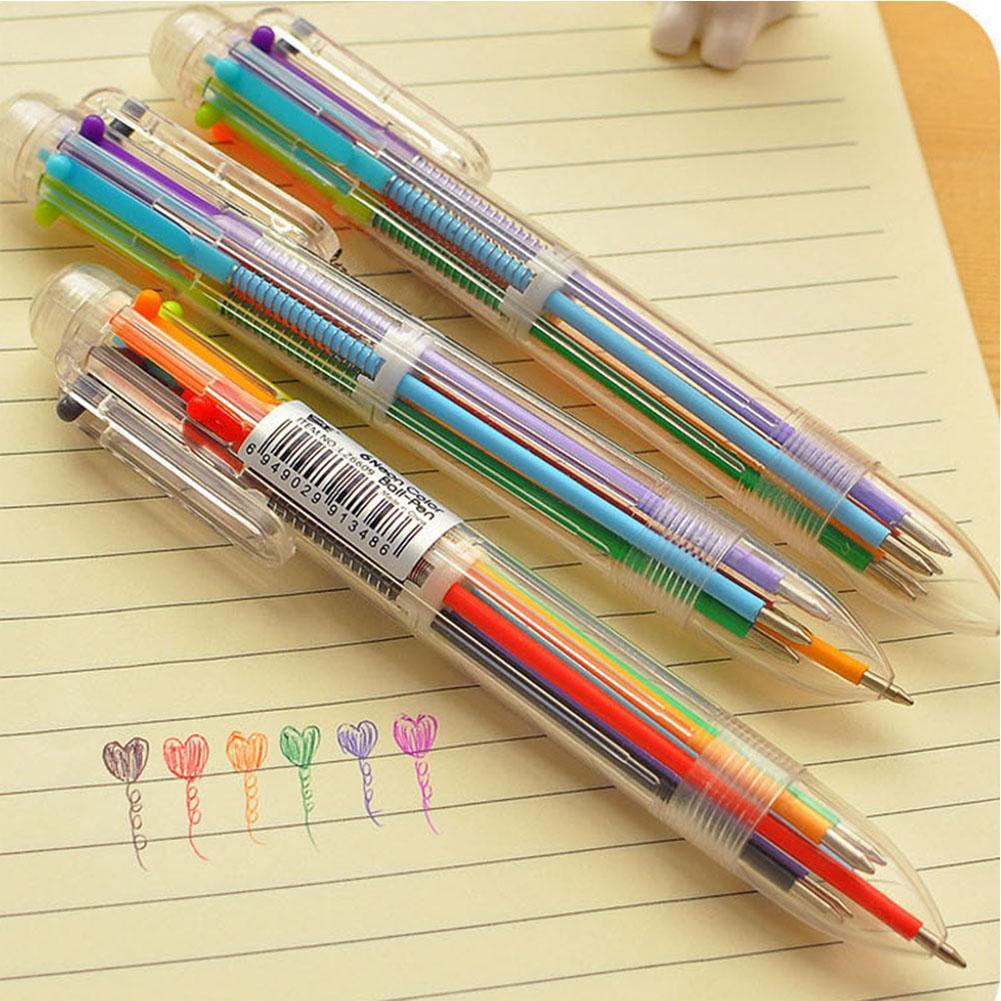 1 Uds bolígrafo multifunción Multicolor 6 en 1 bolígrafo divertido colorido s para escribir Oficina papelería útiles escolares