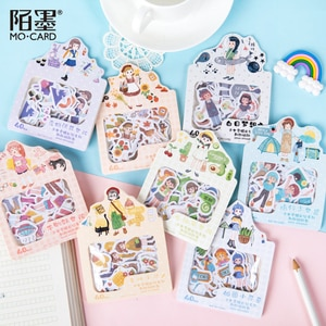 40pcs/pack Kawaii Girls Outfit Stationery Stickers Sealing Label Travel Sticker Diy Scrapbooking Diary Planner Albums Decoration