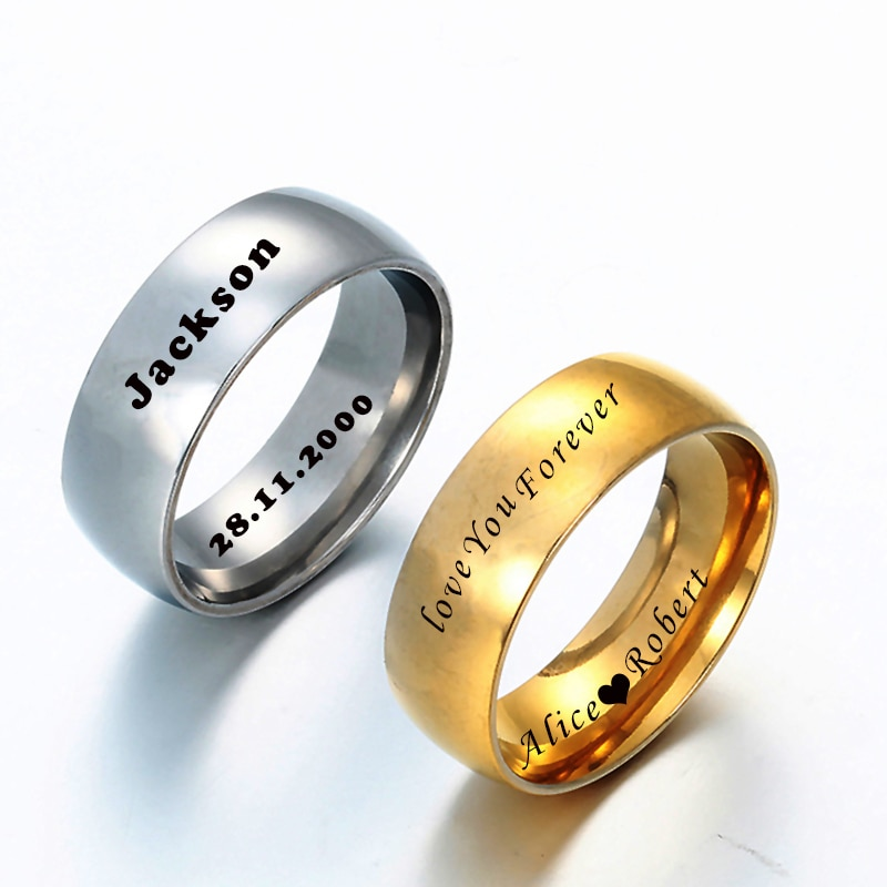 Acheerup Engrave Names Date Stainless Steel Couple Rings Customized Wedding 8mm Ring for Women Men Engagement Jewelry Gift vnox temperament wedding rings for women men cz stones stainless steel engagement band anniversary personalized gift jewelry