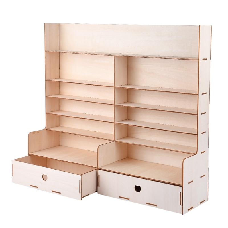 Estante de pintura de madera estante de tinta de pigmento botellas organizador soporte de almacenamiento con gabinete buena estabilidad y estante de mesa