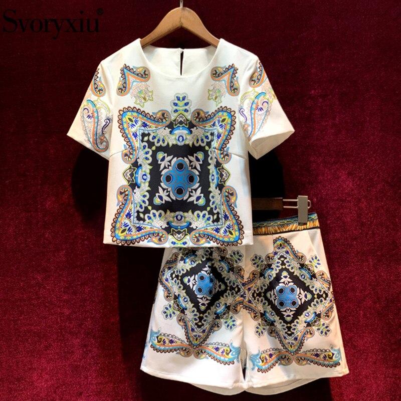 Женский костюм из двух предметов Svoryxiu, разноцветный повседневный костюм из топа с короткими рукавами и шорт с принтом на лето 2020