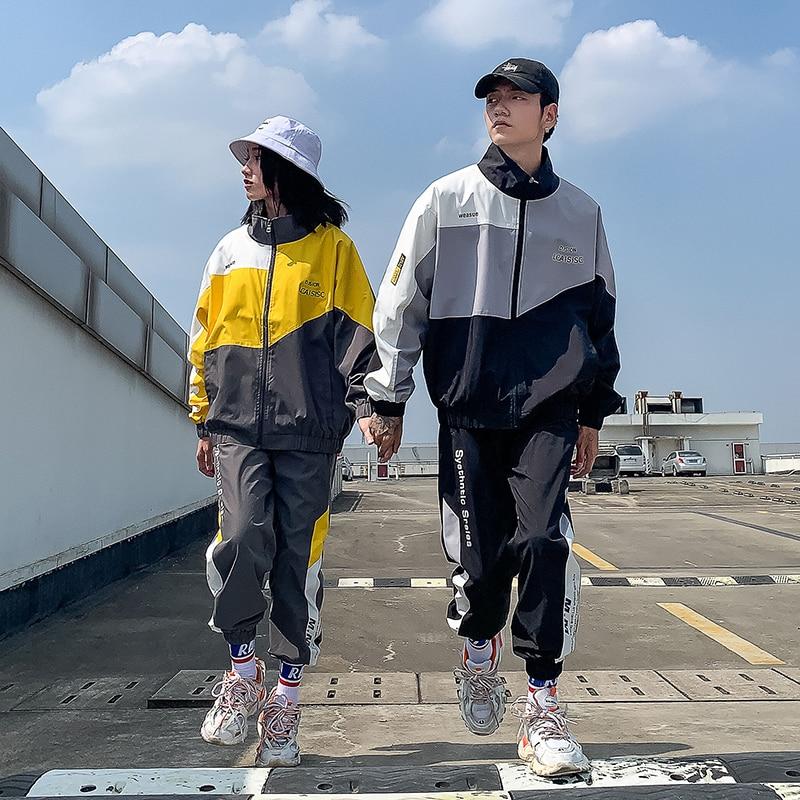 Hommes et femmes ensembles Hip Hop automne Patchwork survêtement mâle col montant veste survêtement survêtement hommes vêtements sport décontracté