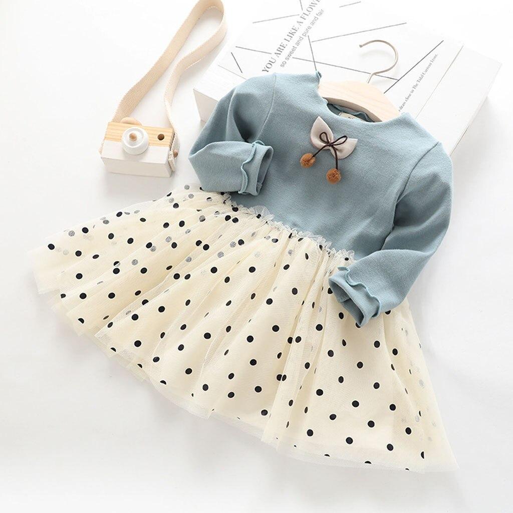 (1-5Y) kinder mädchen prinzessin kleid, polka dot gaze, polka dot mesh nähte, westlichen stil kleid, polka dot bogen S4