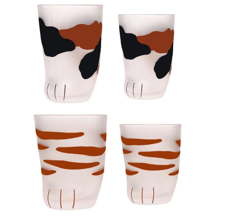 20 piezas 300ml 230ml gato garra tazas leche vidrio esmerilado taza lindo gato pie garra impresión taza gato pata café niños leche vidrio tazas