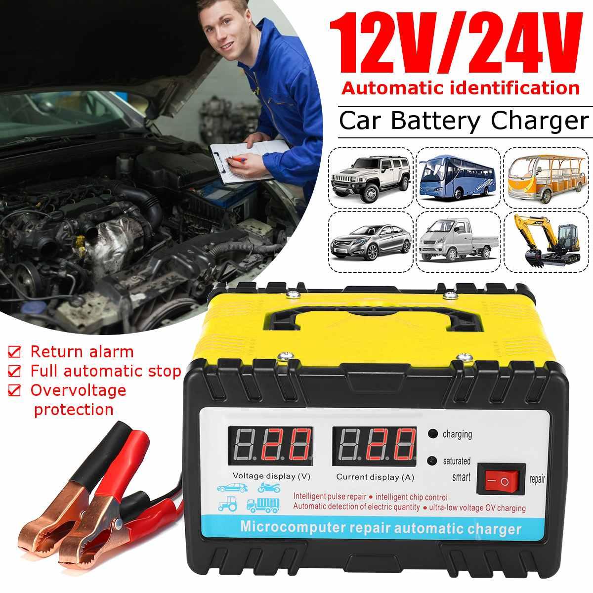شاحن بطارية تخزين السيارة ، شاشة LCD أوتوماتيكية ، 12 فولت/24 فولت ، إصلاح نبضة ذكية 110/220 فولت ، لبطارية ليثيوم حمض الرصاص 6AH-400AH