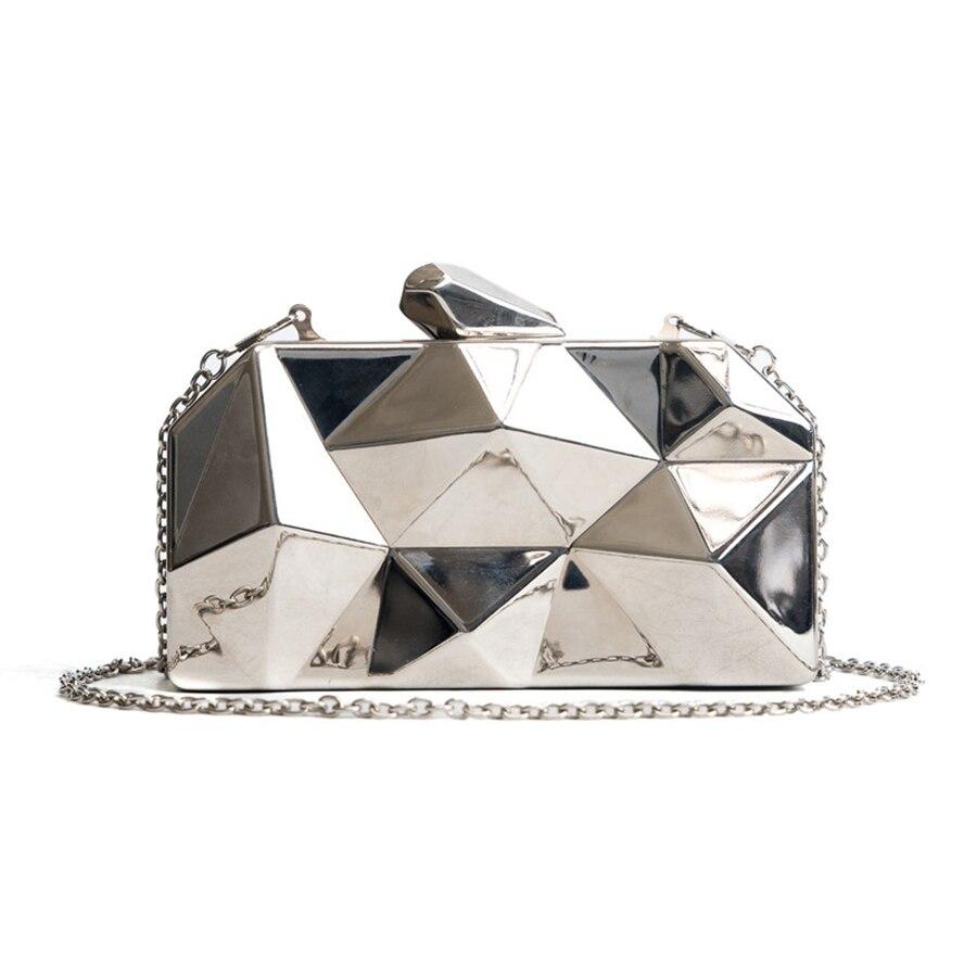 Women Handbags Metal High Quality Hexagon Clutches Fashion Geometric Mini Party Black Evening Purse