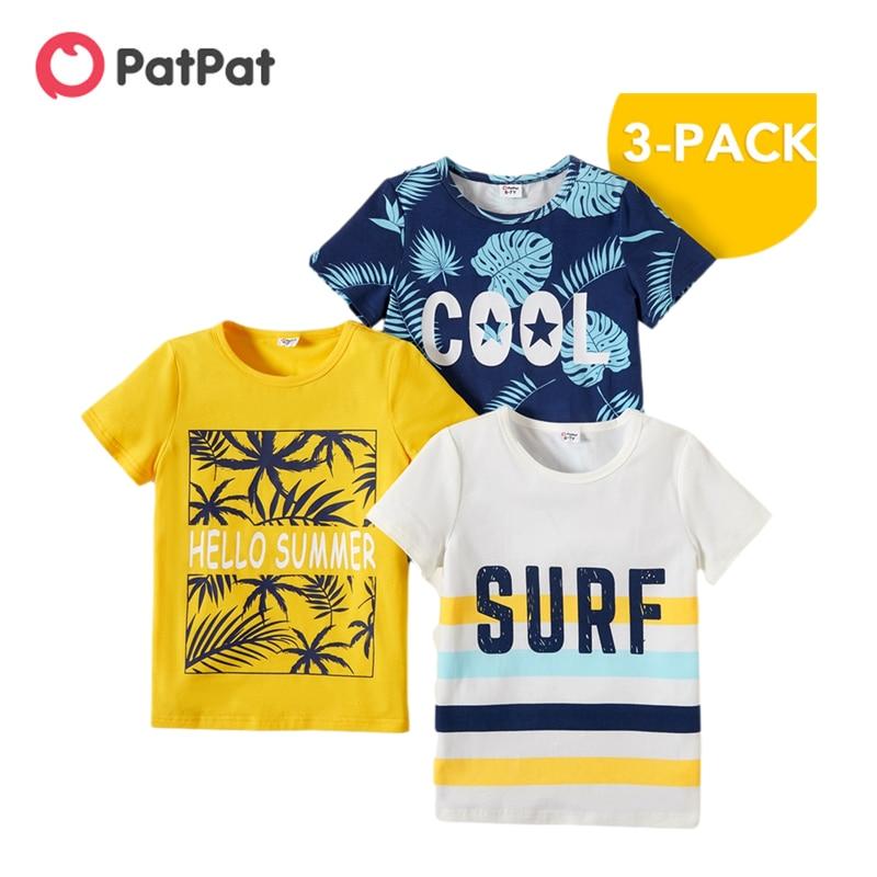 Новое поступление, летняя детская одежда PatPat из 3 предметов для мальчиков, футболки с буквенным принтом, детская одежда|Футболки для мальчиков| | АлиЭкспресс