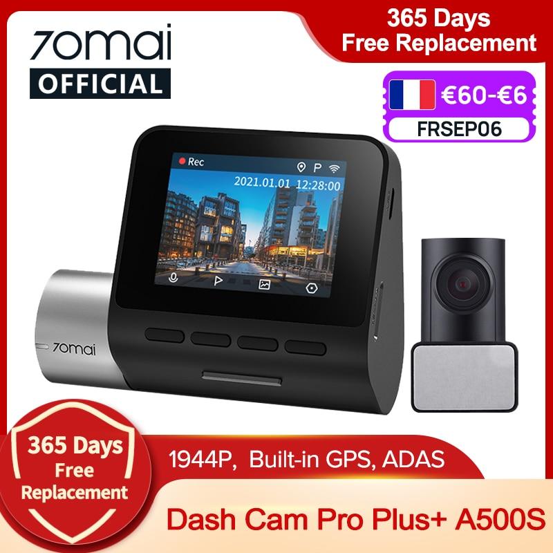 70mai Dash Cam Pro Plus+ A500S 1944P GPS ADAS Car Camera 70mai A500S Car DVR 24H Parking Support Rear Cam 140FOV Auto Recorder