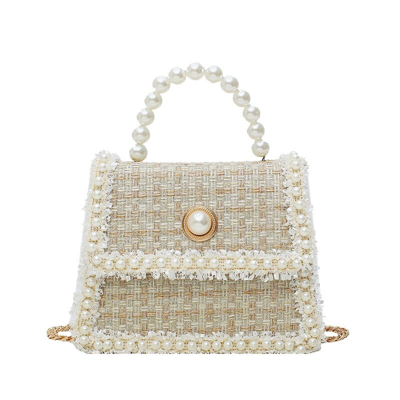 Elegant Female Pearl Tote bag 2020 Fashion New High Quality Woolen Women's Designer Handbag Chain Shoulder Messenger Bag Purses