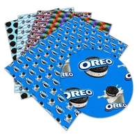 food oreo biscuit pattern printed synthetic faux leather 22x 30 cm for sewing diy bag shoes material l075