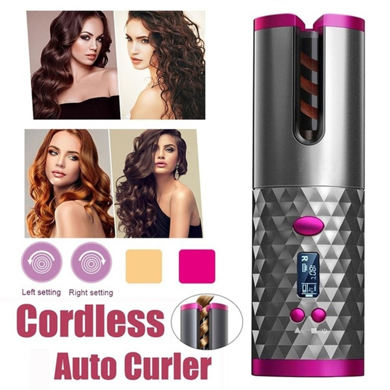 USB Hair Curler Rechargeable Wireless Automatic Curling Iron Ceramic Rotating CordlessTimer LCD Digital Hair Stying Tools