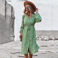 ardm elegant v neck floral print boho dresses for women 2021 long sleeve high waist drawstring party maxi dress casual vestidos