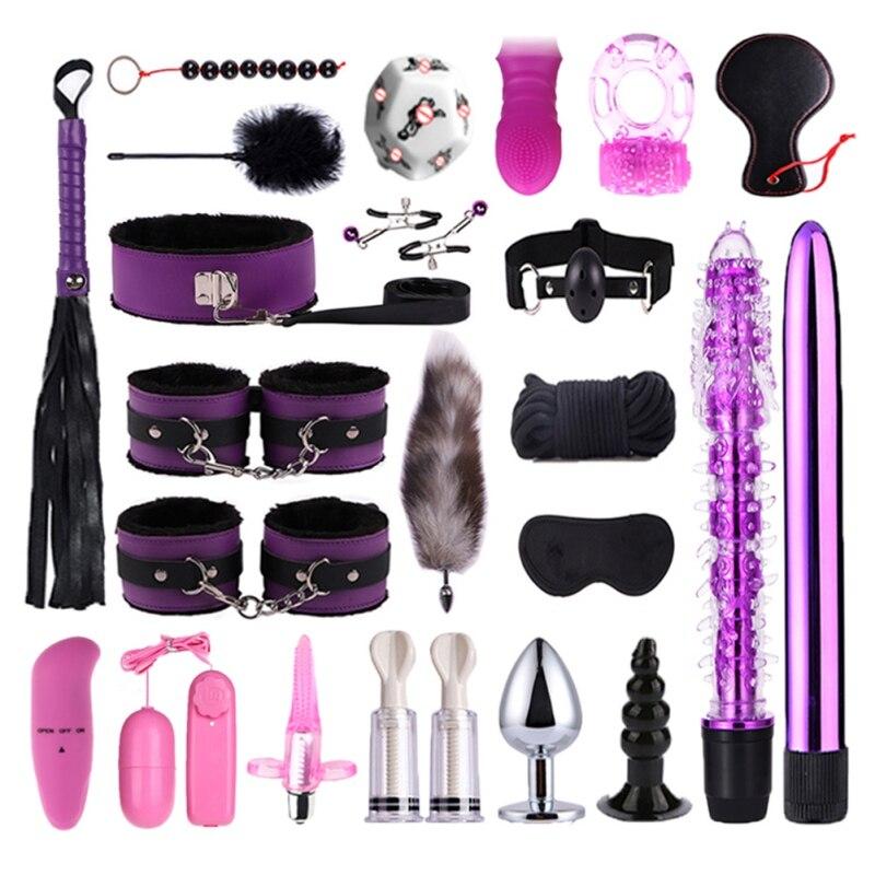 23 stück Sex Spielzeug Set Sexy Erwachsene SM Spiele Sex Erotische Spielzeug Anal Plug Masturbation Stick Handschellen Erwachsene Produkte