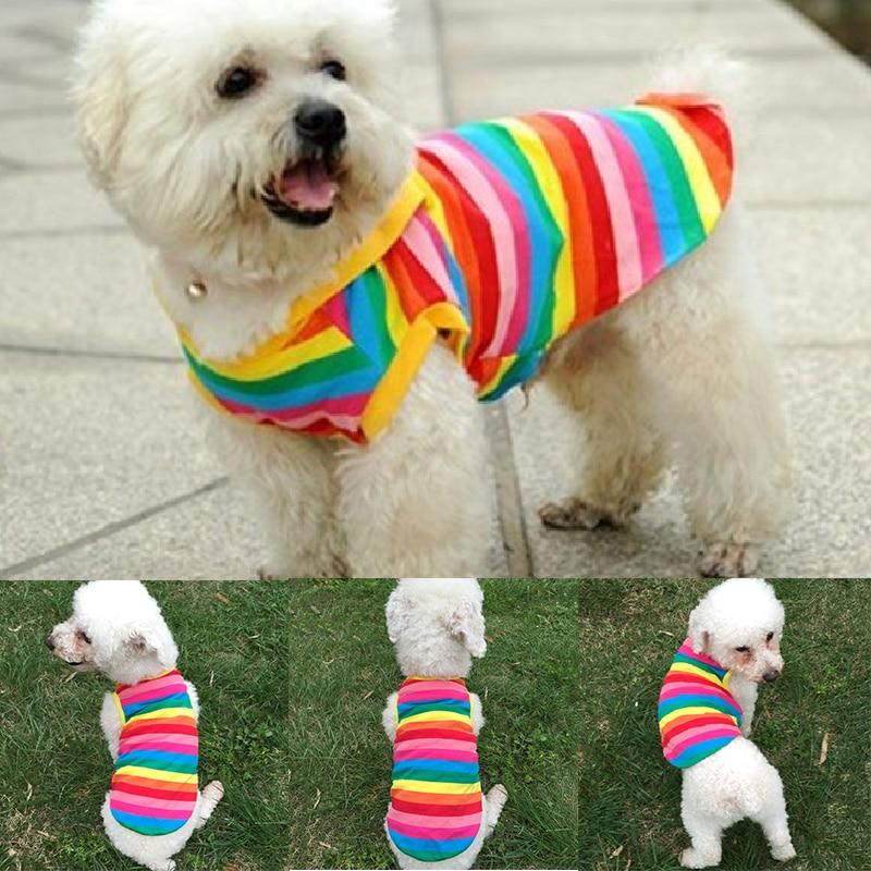Prendas de verano para perro cachorro, chaleco, camiseta bonita, camisa de Arco Iris para Gato pequeños, ropa de perro, camiseta de verano, disfraz de perro