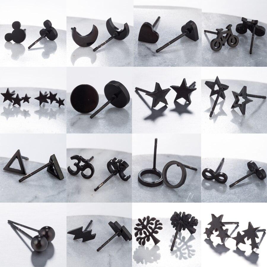 Hfarich bonito preto pequenos brincos femininos de aço inoxidável simples geométrico mickey lua estrela árvore bicicleta círculo parafuso prisioneiro brincos