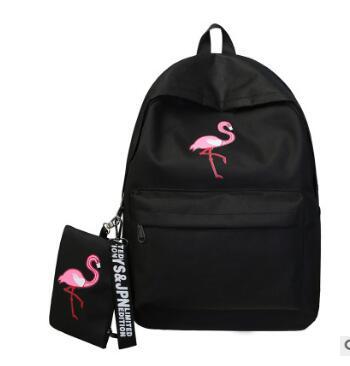30 unids/lote fedex fast estilo coreano para mujer casual flamenco mochila femenina moda cremallera animal de dibujos animados bolso de escuela